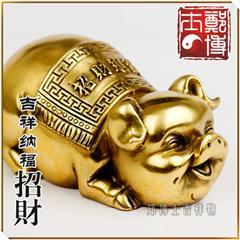 吉祥纳福招财进宝发财铜猪摆件